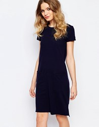 People Tree Organic Fairtrade Cotton Light Weight Knitted T Shirt Dress With Pockets Navy