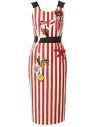 Dolce And Gabbana Embellished Striped Dress Red