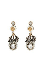 Gucci Pearl Effect Embellished Flower Earrings White