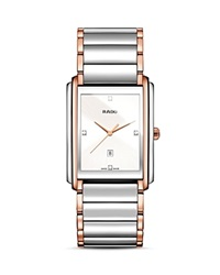 Rado Integral Quartz Stainless Steel And Rose Gold Pvd Watch With Diamonds 40.1Mm Silver Rose