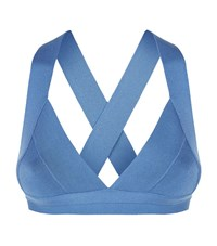 Herve Leger Summer Triangle Bikini Top Female Blue