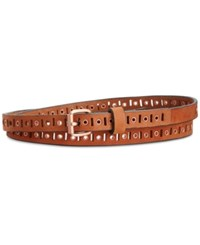 Calvin Klein Perforated And Eyelet Skinny Belt Whiskey Brushed Copper