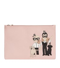 Dolce And Gabbana Family Embroidered Flat Pouch Female Rose
