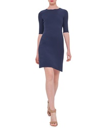 Akris Half Sleeve Wool Crepe Dress Indigo