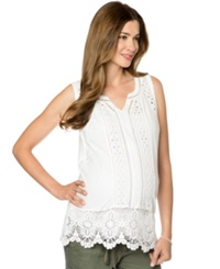 A Pea In The Pod Lace Trim Maternity Tank Top White