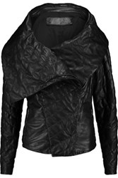 Donna Karan New York Quilted Leather Jacket Black