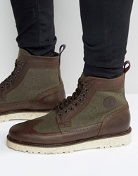 Fred Perry Northgate Leather Wool Brogue Boots Brown