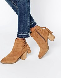 Faith Tassle Suede Heeled Ankle Boots Sand Suede Beige