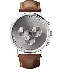 Georg Jensen Koppel Sterling Silver And Leather Watch 41Mm
