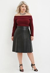Forever 21 Plus Size Faux Leather Midi Skirt Black