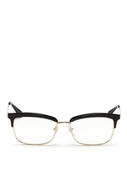 Prada Acetate Rim Metal Optical Glasses Black