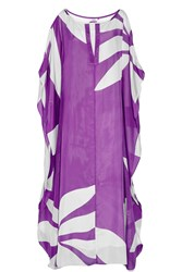 Issa Camilla Printed Silk Chiffon Maxi Dress Purple