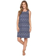 Fresh Produce Tribal Square Neck Dress Moonlight Blue Women's Dress