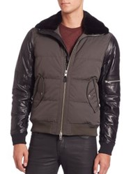 J. Lindeberg Rafe Faux Leather And Twill Bomber Jacket Dark Olive