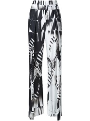 Ann Demeulemeester Ray Pattern Wide Leg Palazzo Trousers Black
