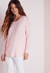 Missguided Oversized Raglan Sleeve Tunic Pink Pink