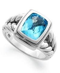 Effy Collection Balissima By Effy Blue Topaz Ring 3 3 8 Ct. T.W. In 18K Gold And Sterling Silver