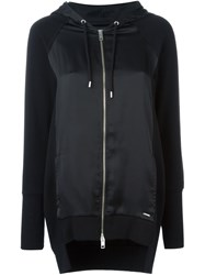 Diesel Satin Detail Zipped Up Hooded Cardigan Black