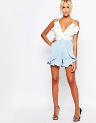 Fashion Union Formal Shorts With Frill Detail Blue