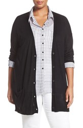Halogenr Plus Size Women's Halogen Lightweight V Neck Cardigan Black