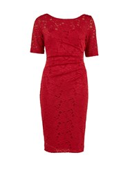 Gina Bacconi Round Neck Rouge Floral Lace Dress Red