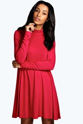 Boohoo Roll Neck Long Sleeve Swing Dress Lipstick