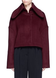 Xiao Li Fly Back Felted Wool Blend Cropped Jacket Red