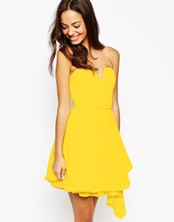 New Look Chiffon Bandeau Prom Dress Yellow