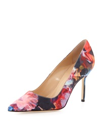 Bb Floral Print Fabric 90Mm Pump Pink Blue Manolo Blahnik