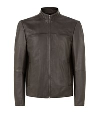 Boss Gameo Leather Jacket Male Brown