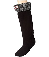 Hunter 6 Stitch Cable Boot Sock Black Grey Women's Crew Cut Socks Shoes