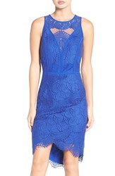 Adelyn Rae Women's Lace High Low Sheath Dress Cobalt