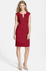 Adrianna Papell Side Pleat Sheath Dress Regular And Petite Red