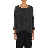 Raquel Allegra Women's Acid Washed Cocoon Shirt Black Blue Black Blue