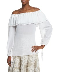 Michael Kors Collection Off Shoulder Cotton Peasant Blouse Optic White Size Medium