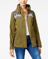 Roxy Winter Cloud Hooded Military Jacket Olive