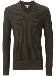 Burberry Brit Ribbed V Neck Sweater Green