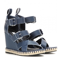 Balenciaga Leather Wedge Sandals Bleu Navy