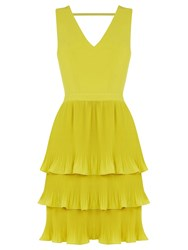 Oasis V Neck Pleated Dress Bright Yellow