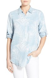 Women's Foxcroft Palm Print Chambray Roll Sleeve Tunic Blue Wash