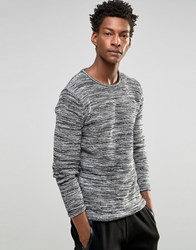 Solid Knitted Jumper In Mixed Yarns Black