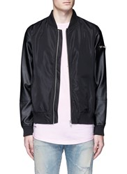 Topman Faux Leather Sleeve Bomber Jacket Black