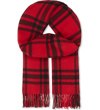 The Kooples Checked Wool Scarf Red Black