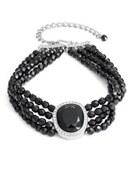 Kenneth Jay Lane Faceted Crystal Pendant Layered Beaded Choker Necklace Black