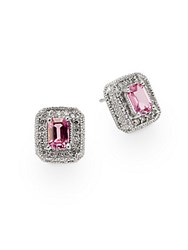 Effy Pink Sapphire Diamond And 14K White Gold Stud Earrings