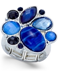 Style And Co. Silver Tone Blue Stone Stretch Ring