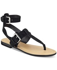 Marc Fisher Reily Flat Thong Sandals Women's Shoes Black Suede