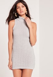 Missguided High Neck Sleeveless Knitted Dress Grey Grey
