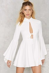 Nasty Gal Fool For You Bell Sleeve Dress White