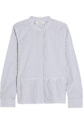 Madewell Striped Cotton Poplin Peplum Shirt Blue